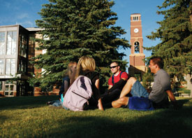 Photo of students on SUU Campus Lawn
